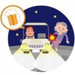 飲酒運転をして歩行者をはねた自動車の運転手のイメージ画像