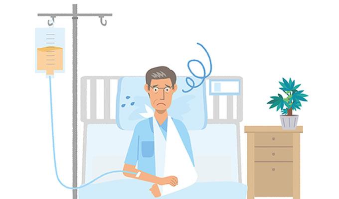 交通事故後の入院生活に不服そうな被害者のイメージ画像