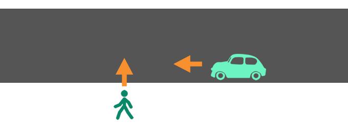 横断歩道のない道路での歩行者と自動車の過失割合を示したイメージ画像