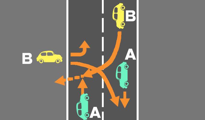直進車と道路の外から入ってきた車の事故の過失割合を示したイメージ画像