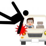 人と車が衝突して撥ねられているイメージイラスト