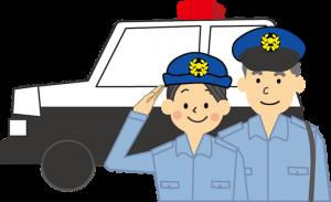 事故に駆け付ける警官2名とパトカーのイメージイラスト