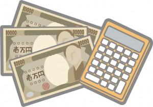 10000円札3枚と電卓のイメージイラスト