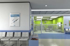 交通事故の症状を診断する病院の待合室の画像