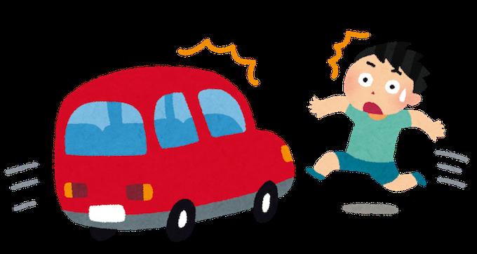 急に飛び出す少年と衝突しそうな車のイメージ画像