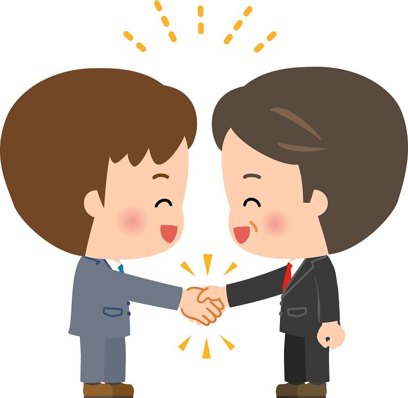 握手する被害者と保険会社の担当のイメージ画像