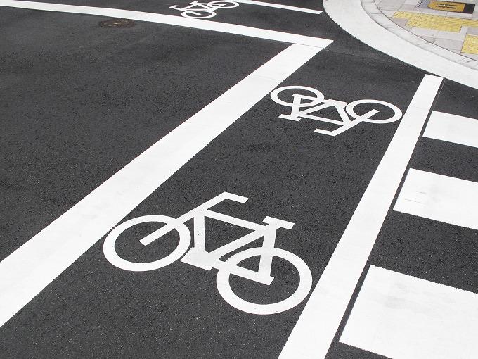 横断歩道の自転車専用通路の写真