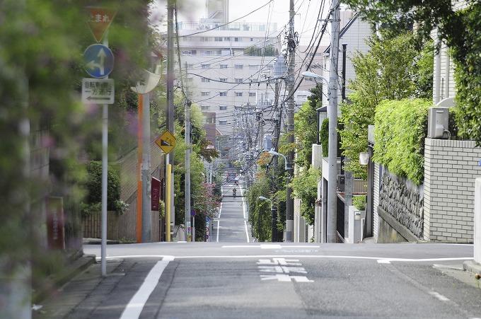 あまり見通しのよくない住宅道路の写真