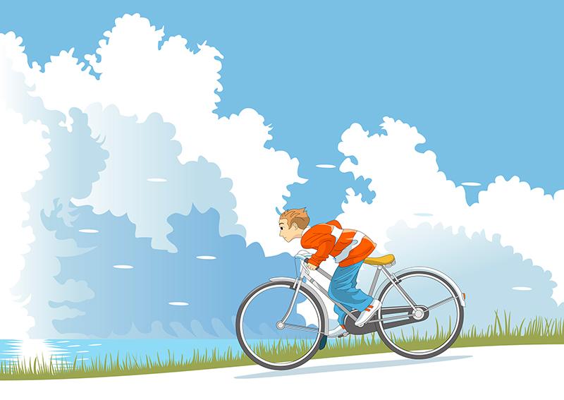 坂道を下る自転車のイメージ画像