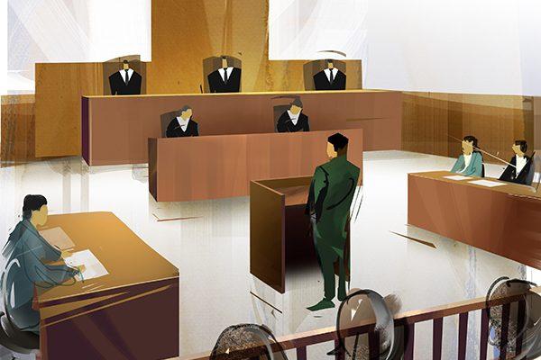 事故による裁判で判決を受ける加害者のイメージイラスト