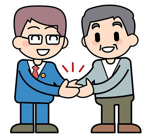 弁護士と手を取り合う被害者のイメージ画像