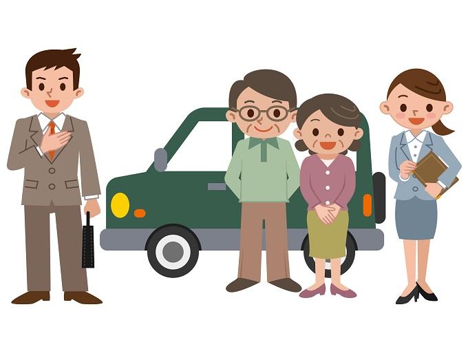 自動車を購入した家族とそのディーラーのイメージ画像